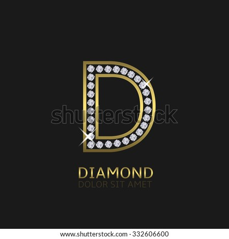 Golden metal letter D logo with diamonds. Luxury, royal, wealth, glamour symbol. Vector illustration - stock vector