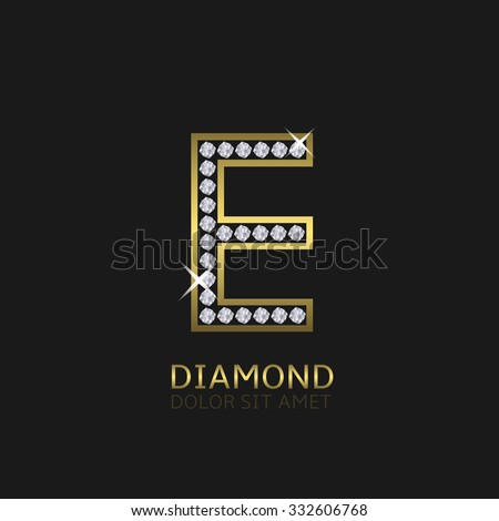 Golden metal letter E logo with diamonds. Luxury, royal, wealth, glamour symbol. Vector illustration - stock vector