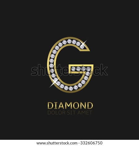 Golden metal letter G logo with diamonds. Luxury, royal, wealth, glamour symbol. Vector illustration - stock vector