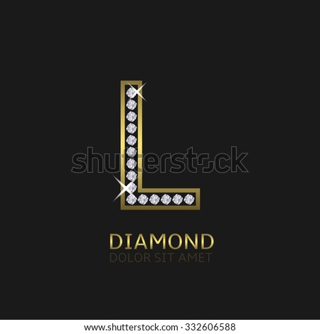 Golden metal letter L logo with diamonds. Luxury, royal, wealth, glamour symbol. Vector illustration - stock vector
