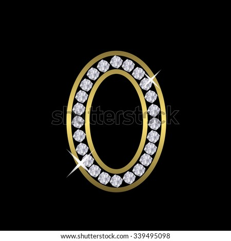 Golden metal number zero sign with diamonds. Luxury, royal, wealth, glamour symbol. Vector illustration - stock vector
