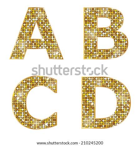 Golden metallic shiny letters A, B, C, D  - stock vector