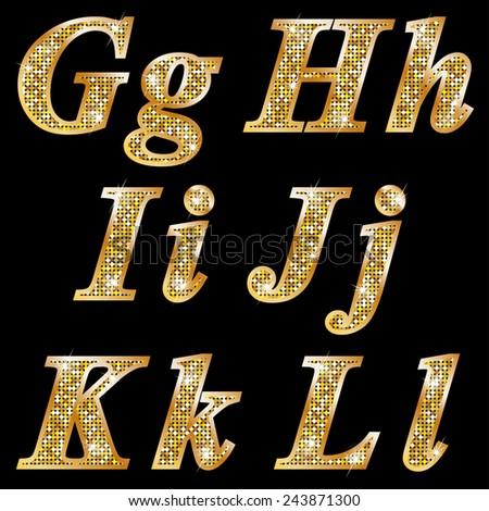 Golden metallic shiny letters G, H, I, J, K, L  - stock vector