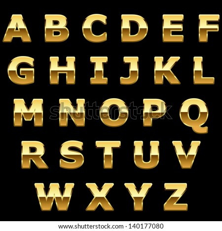 Golden metallic shiny letters isolated on black background. - stock vector