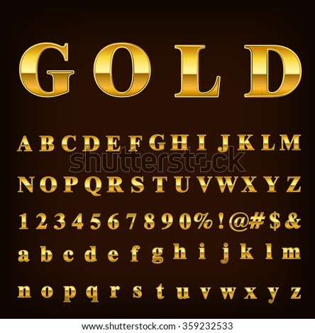 Golden metallic shiny letters isolated on brown gradient background