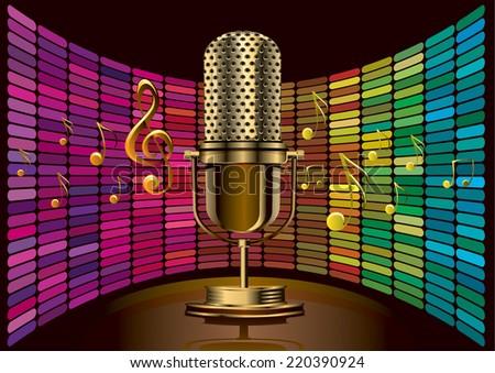 Golden microphone - stock vector