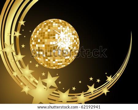 golden mirror ball - vector - stock vector