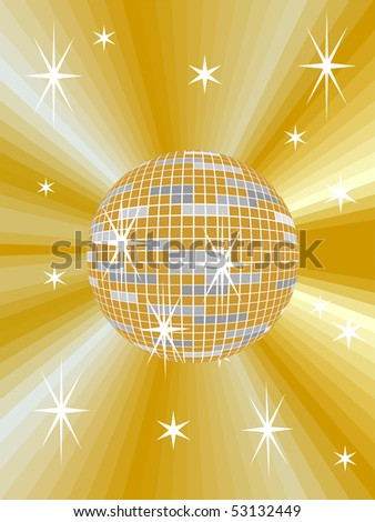 golden mirror ball with abstract background