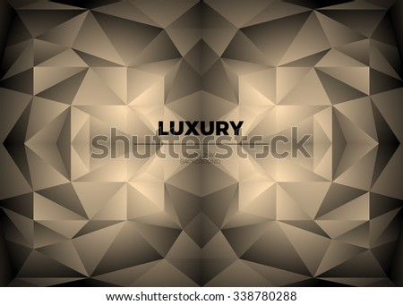 Golden mirror crystal abstract geometric background with triangular polygons. Vector luxury illustration for technology presentations, website background. - stock vector