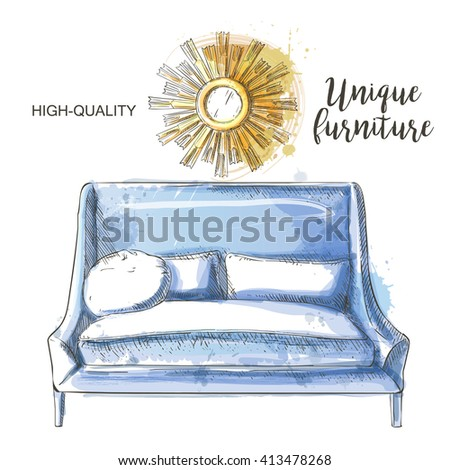 Golden mirror frame and  modern blue couch sketch - stock vector