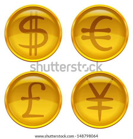 Golden money buttons icons with currency signs, set: dollar, euro, pound, yen. Vector eps10, contains transparencies - stock vector