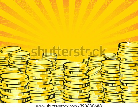 Golden money stacks. Gold coins. Retro vector illustration of the shining wealth. Lottery winning or business success concept. Pop art treasure image. Orange rays background - stock vector