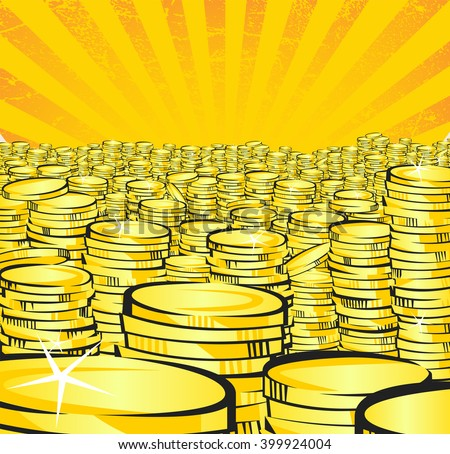 Golden money stacks. Gold coins. Retro vector illustration of the shining wealth. Lottery winning or business success concept. Pop art treasure image. Orange rays background. Perspective view. - stock vector