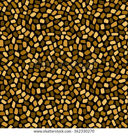 Golden mosaic or inlay seamless vector pattern. Shades of gold. Abstract geometrical background. Tiny polygonal pieces. Ceramic tile stylization texture. Byzantine mosaic template. - stock vector