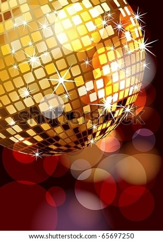 Golden music disco ball corner, eps10 vector illustration - stock vector