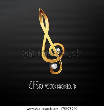 Golden music theme background with musical note,vector Illustration - stock vector
