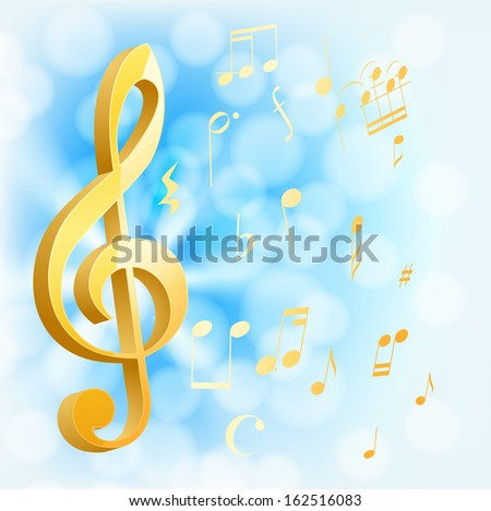 golden musical key with notes on blue background