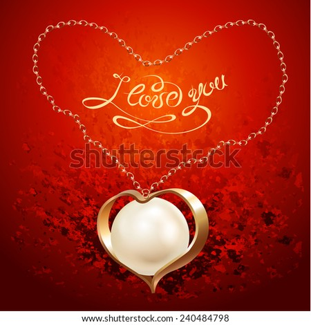 Golden necklace with a pearl pendant, isolated on a red background. Valentine's Day gift. Vector illustration - stock vector
