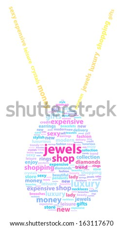 Golden Necklace With Diamond Pendant Word Cloud Concept - stock vector