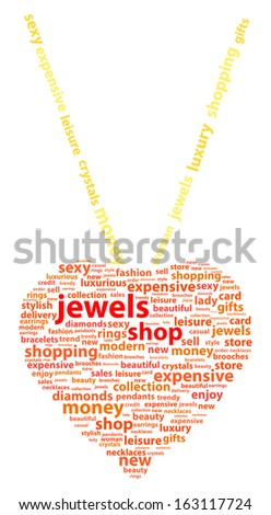 Golden Necklace With Heart Pendant Word Cloud Concept - stock vector