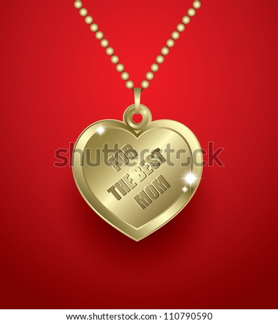 Golden necklace with heart shaped pendant - vector illustration - stock vector