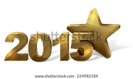 golden new year star - stock vector