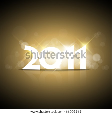 Golden New Years card 2011 with back light and place for your text - stock vector