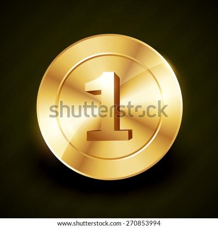 golden no 1 vector label design illustration - stock vector