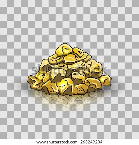 Golden nuggets pile - stock vector