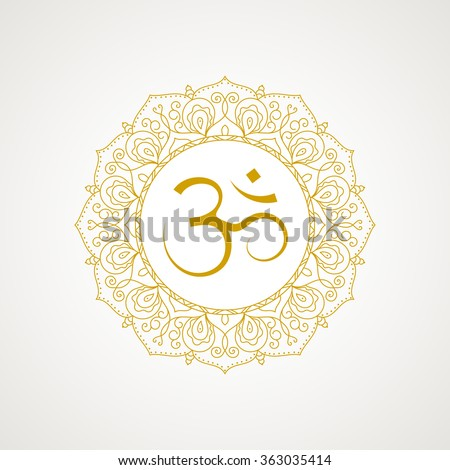 Golden om symbol. Gold lace frame. Vector isolated on white background. Spiritual icon in Indian religions. Mantra in Hinduism, Buddhism. - stock vector