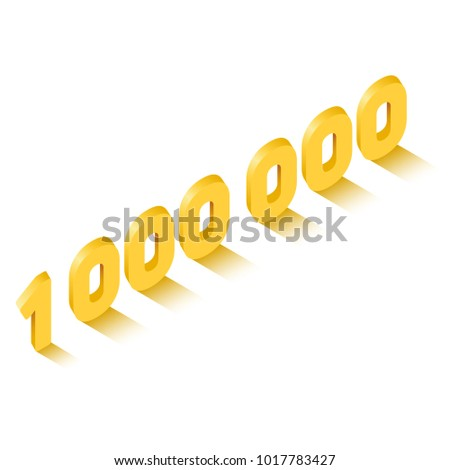 Golden one million sign in isometric style, celebration concept, vector eps10