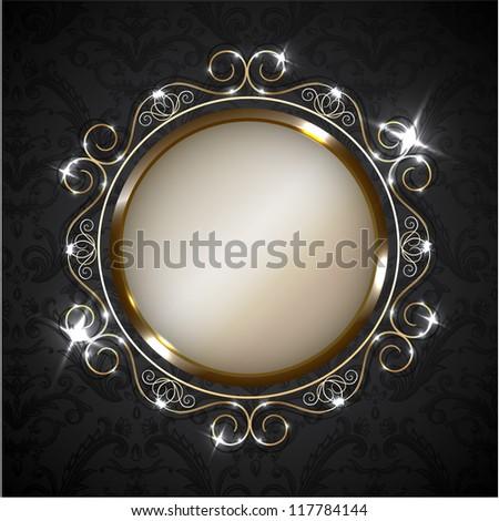 Golden ornate frame on decorated wallpaper - stock vector