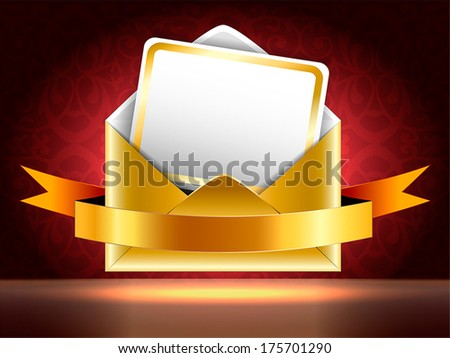 Golden paper envelope with a postcard and ribbons on black and red background with patterns. Holiday vip invitation. Horizontal vector illustration.  - stock vector