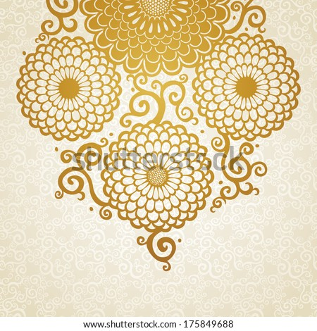 Golden pattern with large flowers and curls. Blue floral background. It can be used for decorating of wedding invitations, greeting cards, decoration for bags and clothes. - stock vector