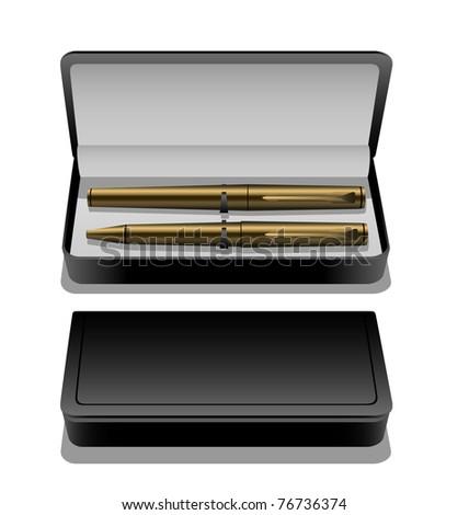 Golden pen set in case eps8 - stock vector