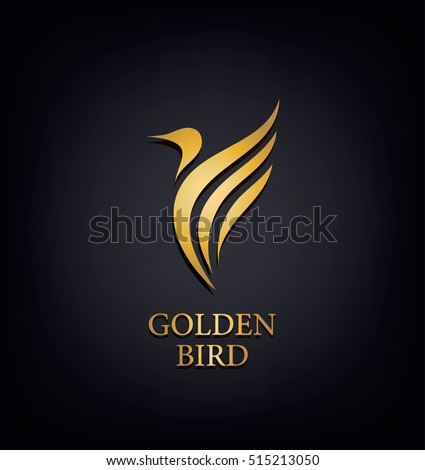 Golden Phoenix, bird brand, animal logo,luxury brand identity for hotel fashion and sports brand concept. Vector design, company identity