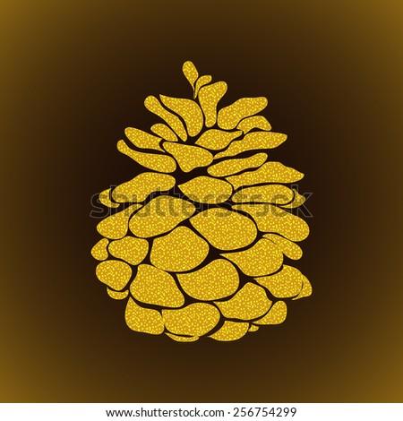 golden pine cone christmas tree on stock vector 256754299 shutterstock