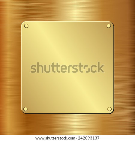 golden plaque on golden background