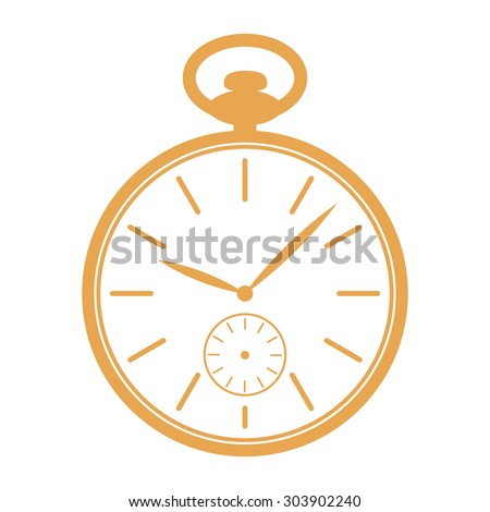 Golden pocket watch icon isolated on white background. Watch illustration. Pocket watch vector. Design template for label, banner, badge, logo. Vector. - stock vector