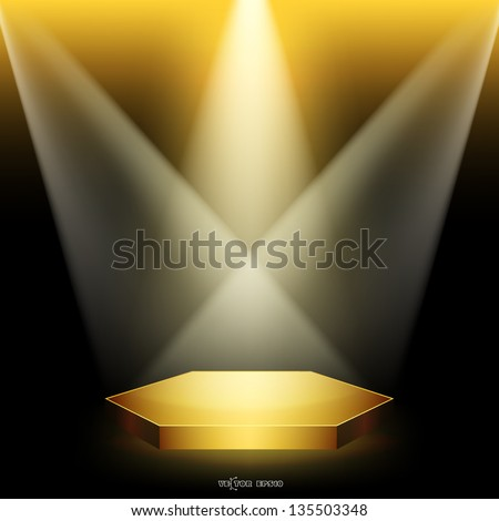 Golden podium in the form of hexagonal floodlighting - stock vector