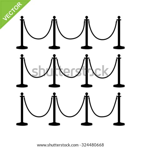 golden pole barricade silhouette vector - stock vector