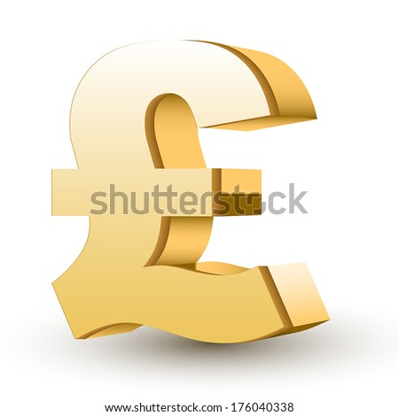 golden pound symbol isolated white background - stock vector