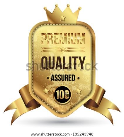 Golden premium badge with gold ribbon. - stock vector
