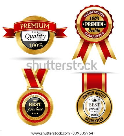 Golden Premium Quality Best Labels Collection Isolated on White Background - stock vector