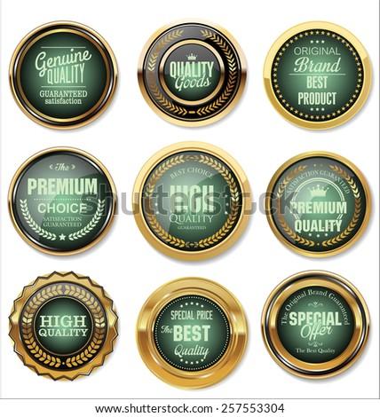 Golden Premium Quality Labels  - stock vector