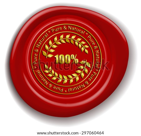 Golden Pure & Natural Sign Red Wax Seal - stock vector