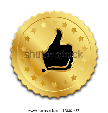 Golden quality mark seal on white background - stock vector