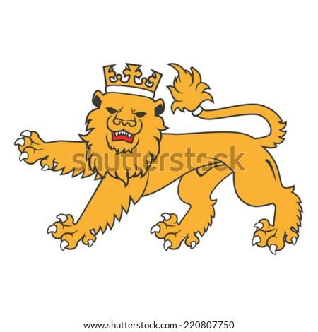 Golden regal  heraldic lion with crown - stock vector