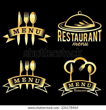 golden restaurant and menu elements set - stock vector