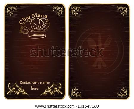 Golden restaurant chef menu board covers - vector set - stock vector